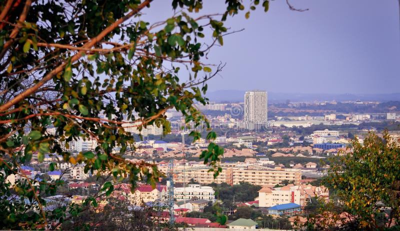 Beautiful view of the houses of Pattaya in Thailand from the observation deck royalty free stock images