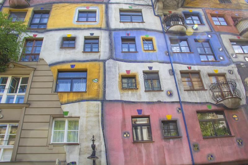 Beautiful view of the Hundertwasser house in Vienna, Austria royalty free stock images