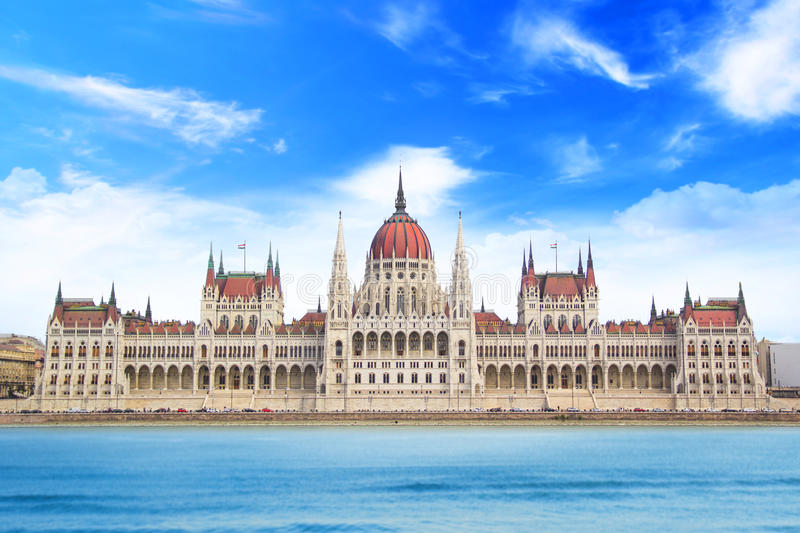 Beautiful view of the Hungarian Parliament on the Danube waterfront in Budapest, Hungary royalty free stock photography