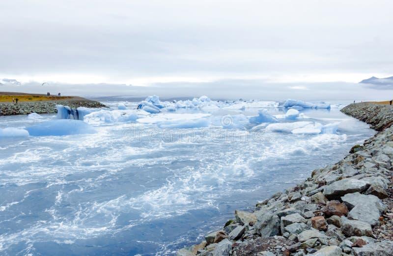 Beautiful view of icebergs in Jokulsarlon glacier lagoon, Iceland. royalty free stock images