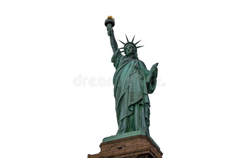 Beautiful view isolated Statue of Liberty. Liberty Island in New York. Harbor in New York royalty free stock image