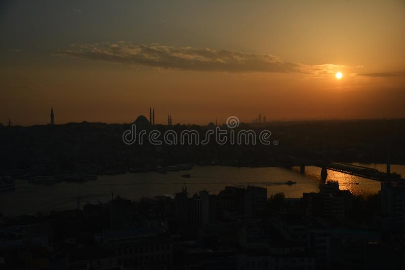 Panoramic View Istanbul Turkey Sunset royalty free stock images