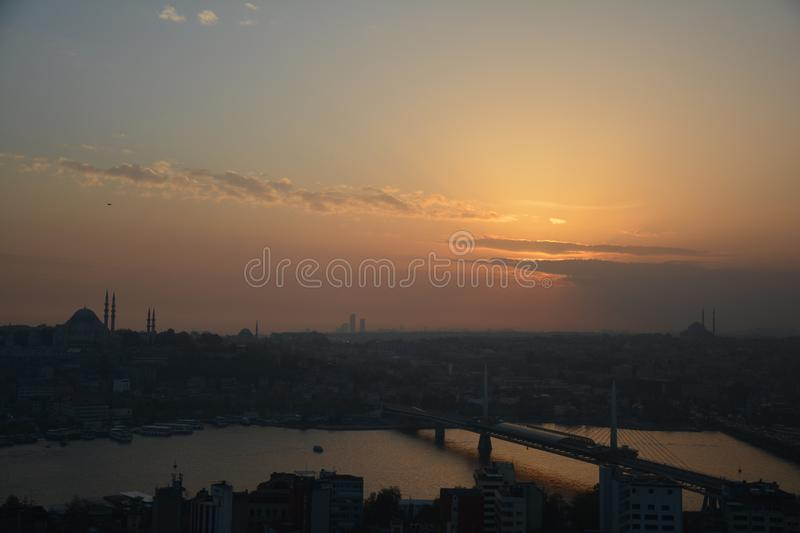 Panoramic View Istanbul Turkey Sunset stock images