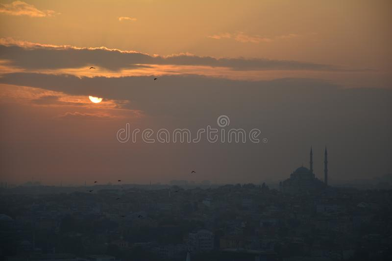 Panoramic View Istanbul Turkey Sunset royalty free stock photography