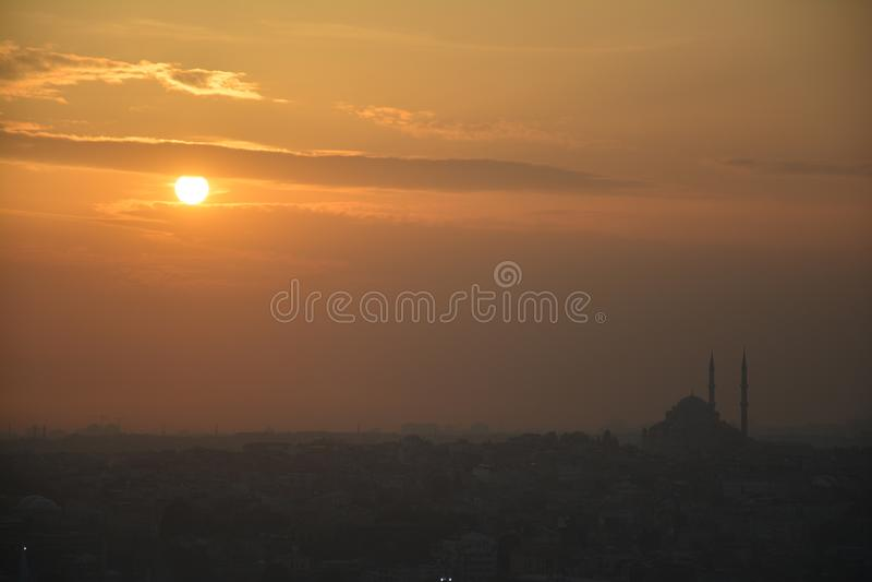 Panoramic View Istanbul Turkey Sunset stock photos