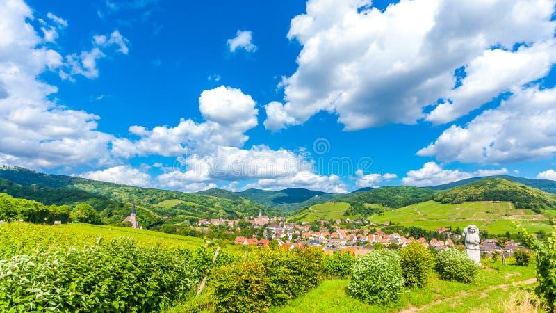 Itterswiller medieval village in Alsace France. Beautiful view of Itterswiller medieval village, in Alsace region, France stock photos