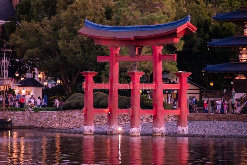 Beautiful view of Japan arch at Epcot 153. Orlando, Florida . November 18, 2019. Beautiful view of Japan arch at Epcot 153 royalty free stock photo