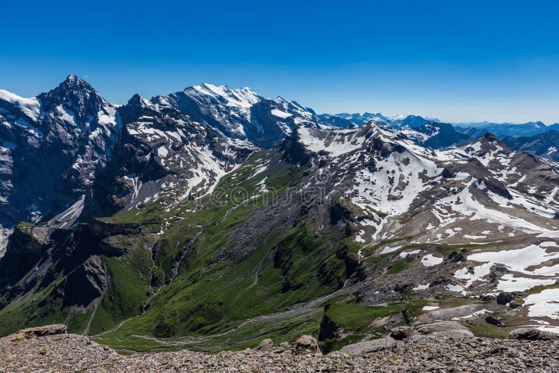 Beautiful view of Jungfrau valley from top of schilthorn, Murren, Switzerland.  stock photo