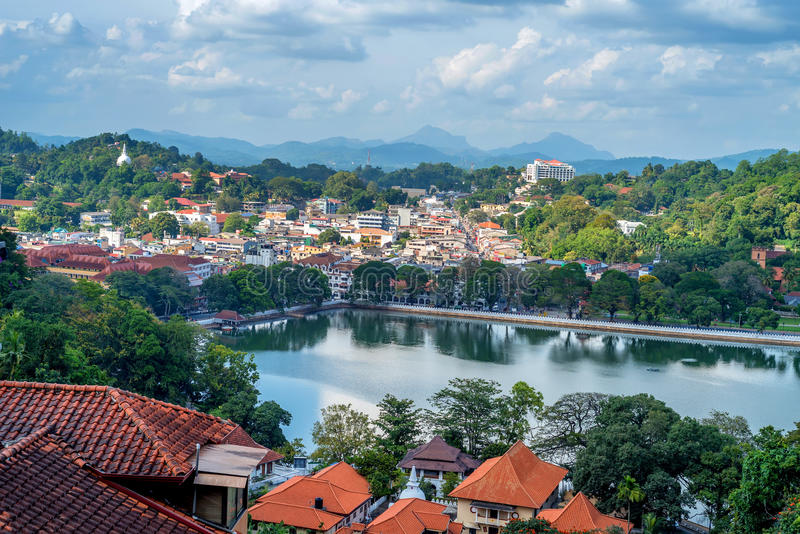 Beautiful view of Kandy in Sri Lanka. Panoramic scenic view on former Sri Lanka capital Kandy stock photos
