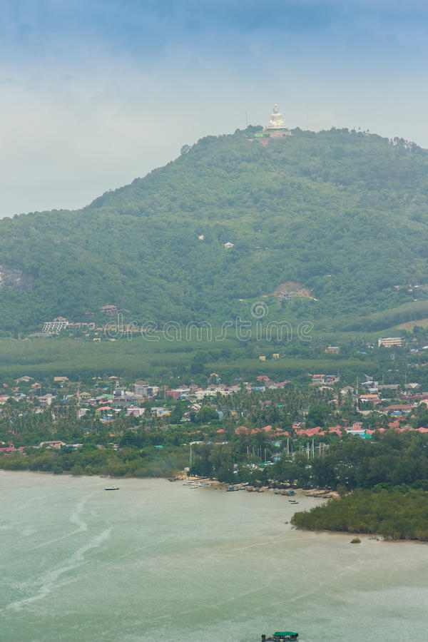 Beautiful view from Khao-Khad Views Tower, tourists can enjoy th. E 360-degree view such as Chalong bay, Panwa cape, Sire island, Bon island, tiny and large stock photos
