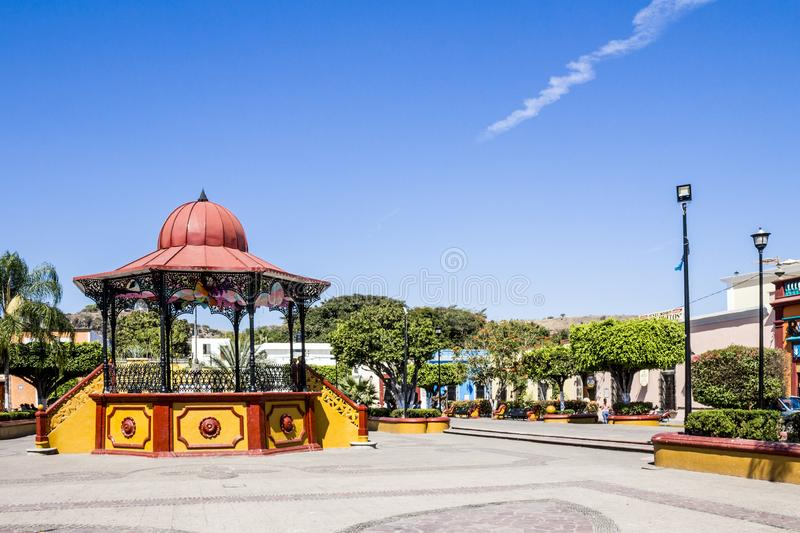 Beautiful view of the kiosk in the main square. Of the village of Tequila Jalisco Mexico in a wonderful sunny day with a blue sky and few white clouds stock photography
