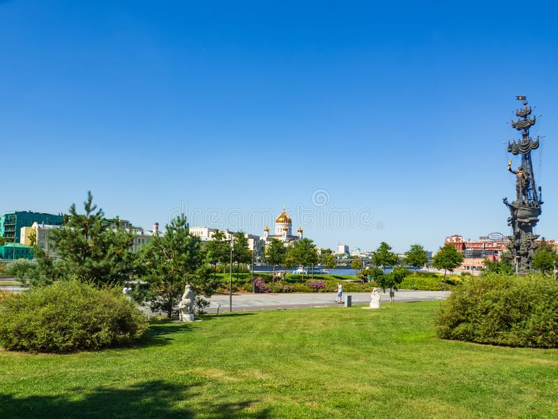 Beautiful view of Krymskaya embankment and Muzeon park of arts in Moscow on a sunny summer day. stock image