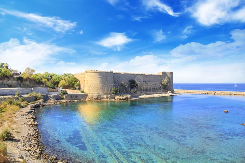 Beautiful view of Kyrenia Castle in Kyrenia Girne, Northern Cyprus. On a sunny day royalty free stock photography