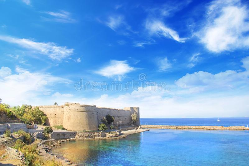 Beautiful view of Kyrenia Castle in Kyrenia Girne, Northern Cyprus. On a sunny day stock photos