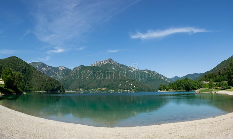 Beautiful view of Lago Di Ledro and surrounding mountains, Italy. Spiaggia pubblica Molina di Ledro, Italy. Beautiful view of Lago Di Ledro and surrounding royalty free stock photos