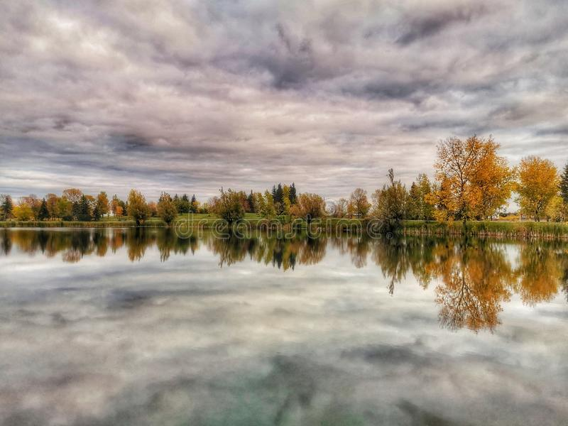 Beautiful view on the lake Autumn session royalty free stock image