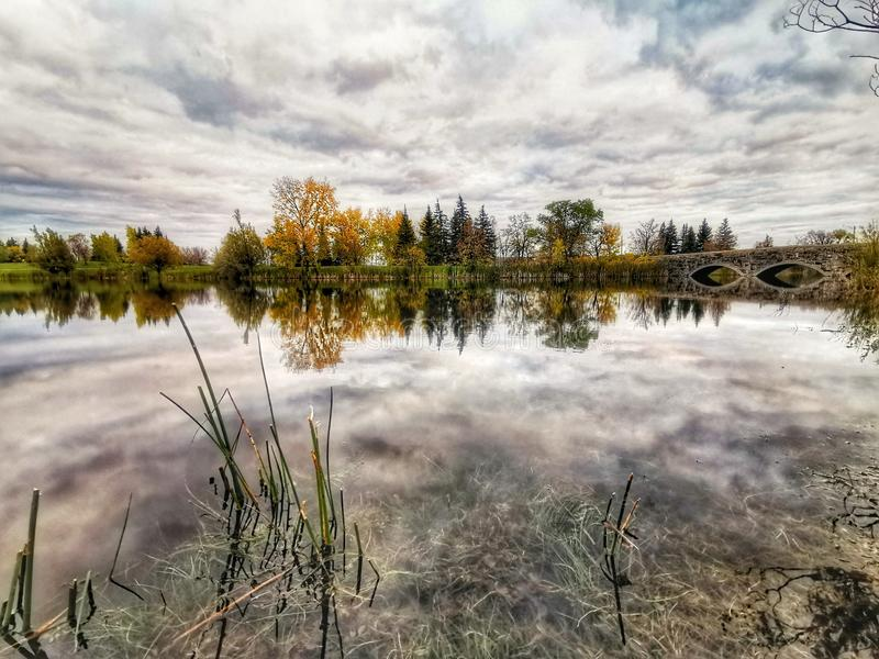 Beautiful view on the lake Autumn session stock photography