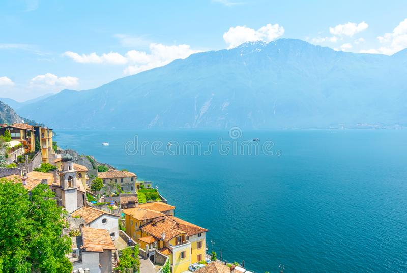 Beautiful view on Lake Garda in Limone sul Garda, Italy. Typical town on Lake Garda in northern Italy royalty free stock photos