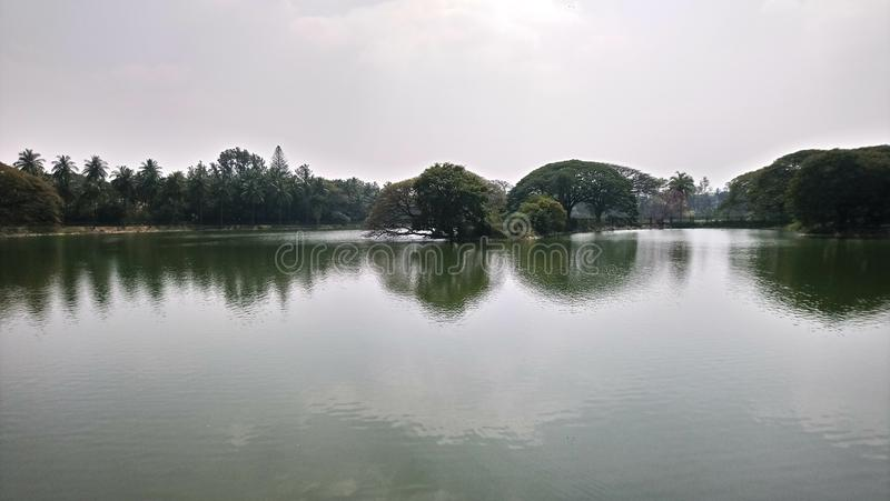 Beautiful view of Lake in lal bagh, Bengaluru. India. Beautiful view of Lake in lal bagh, Bengaluru.India. With trees in the middle of the Lake stock image