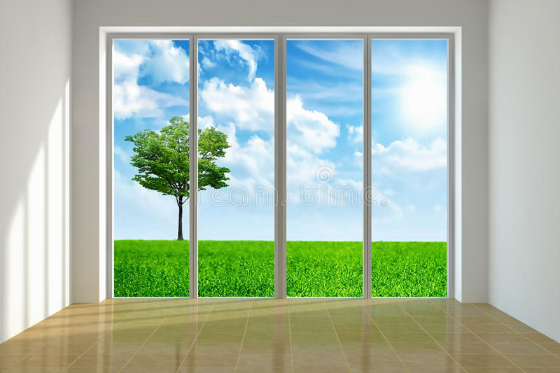 Beautiful view. Large window with view to a beautiful landscape stock illustration