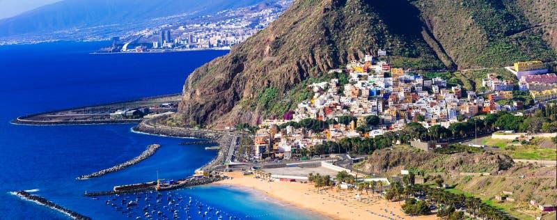 Beautiful view of las Teresitas beach,Tenerife island,Spain. San Andres village,view with playa de teresitas,Tenerife stock photography