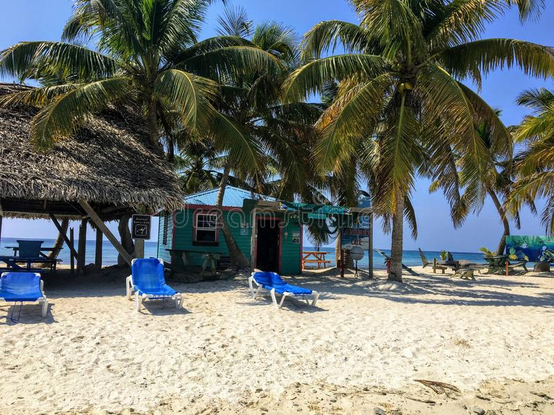 The beautiful view of laughing bird caye, a tiny tropical island in the carribean off the coast of Belize stock photos