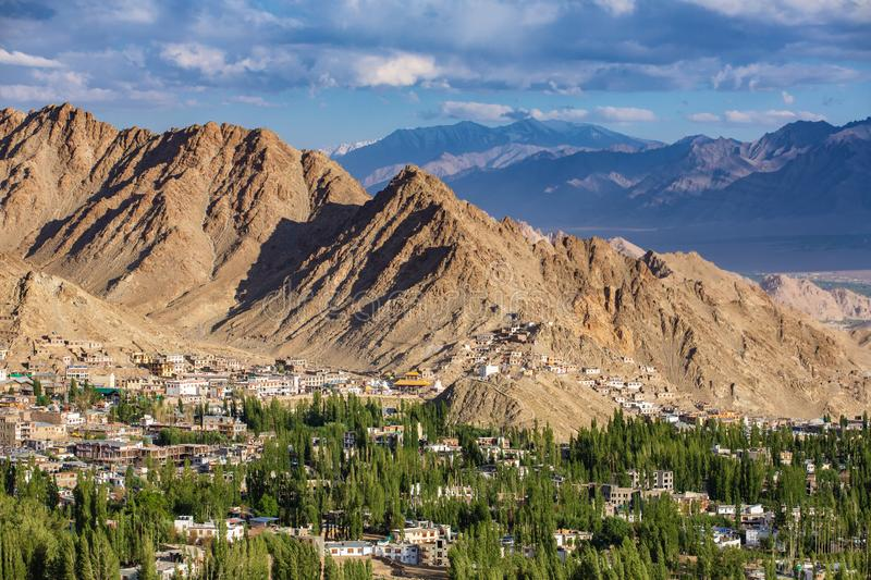 Beautiful view of Leh city and green Indus valley, Ladakh, India. Beautiful view of Leh city and green Indus valley with Tsemo Maitreya temple over the city royalty free stock photo