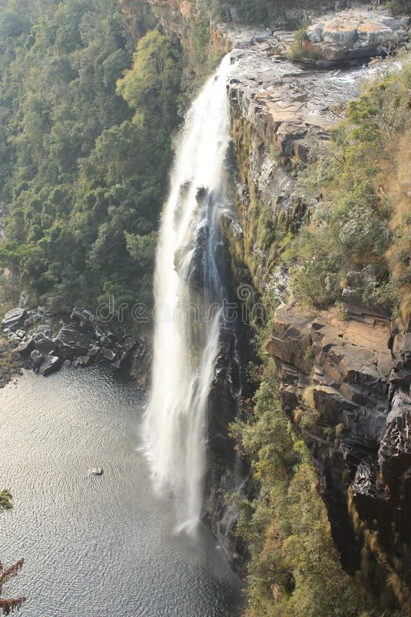 Beautiful View on Lisbon Falls SouthAfrica. Bird's eye view of Lisbon Waterfalls, impressive falls close to Blyde River Canyon in Southafrica surrounded stock photography