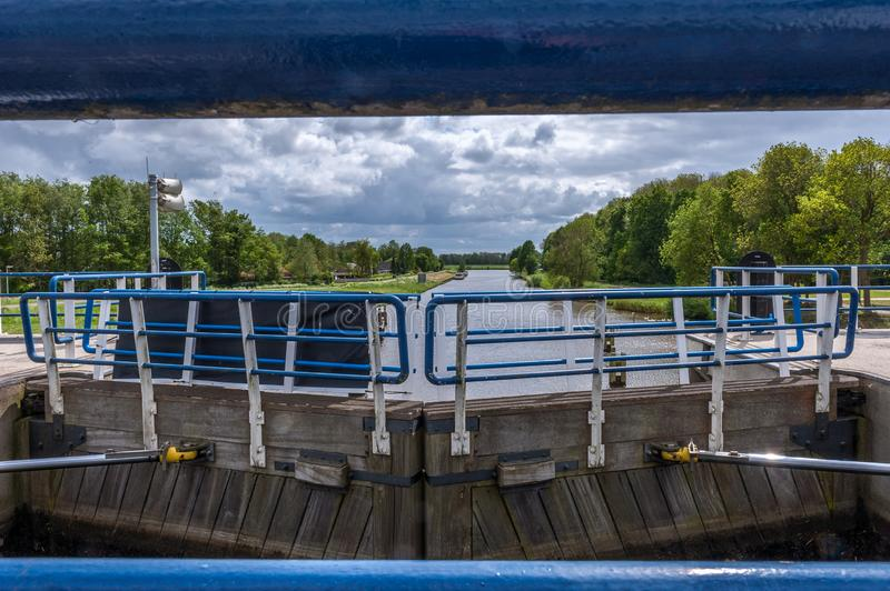 Beautiful view of the sluice of Ketelhaven stock photos