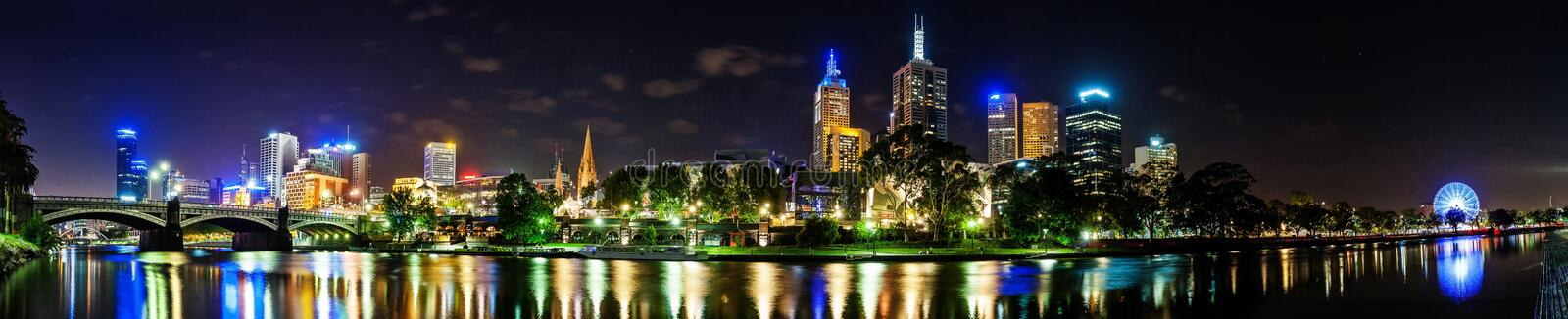 A beautiful view of Melbourne downtown across the Yarra river at. Night in Melbourne, Victoria, Australia stock images