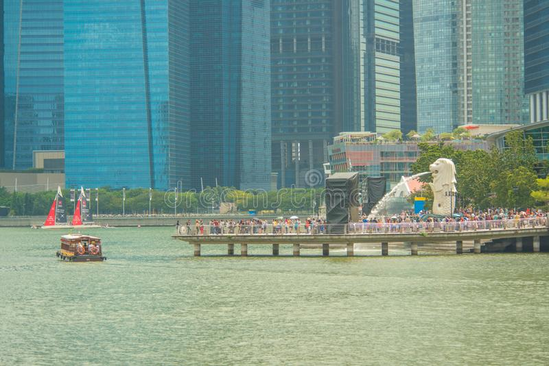 Merlion Statue in Marina Bay Sands in Singapore. stock images