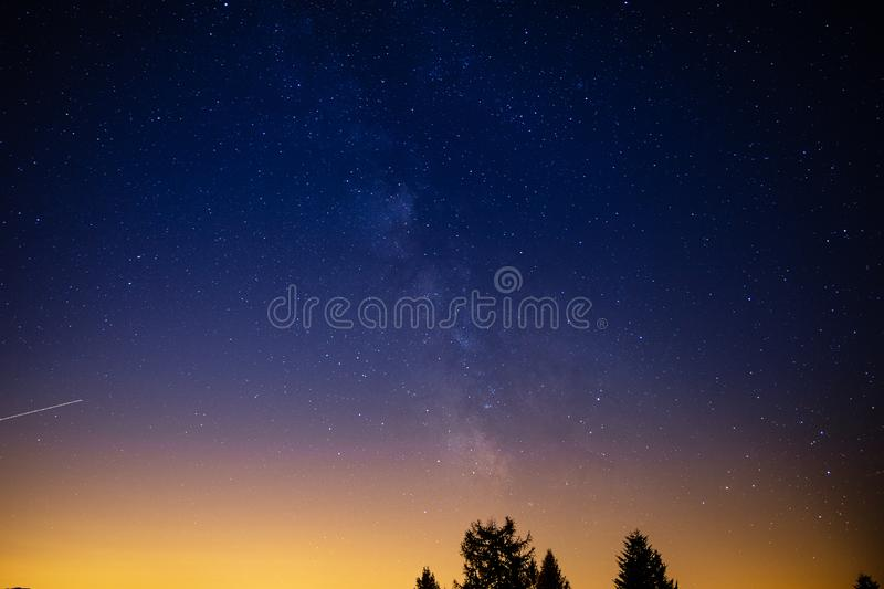 Beautiful View of the milky way from Cardada, Locarno, Switzerland. LOCARNO, SWITZERLAND. Beautiful View of the milky way from Cardada, Locarno, Switzerland stock images