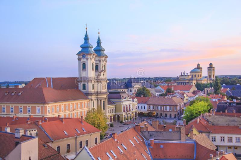 Beautiful view of the Minorit church and the panorama of the city of Eger, Hungary stock photography
