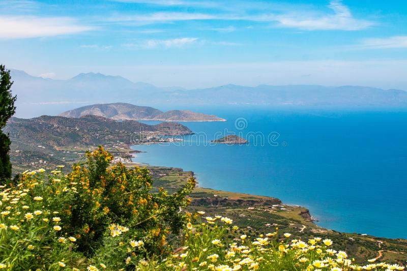 Beautiful view of the Mirabello bay. Near to Sitia and Agios Nikolaos. Landscape with turquoise sea, stock images