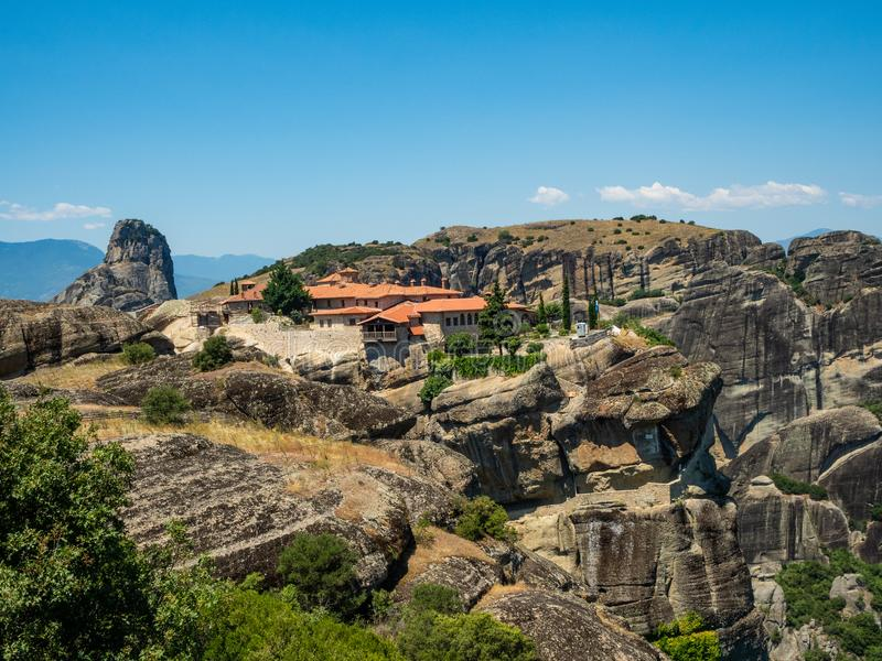 Beautiful view of the monastery of the Holy Trinity and its surrounding mountains in the region of Meteora, Greece royalty free stock images