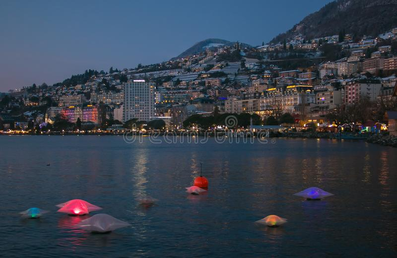 Beautiful view of Montreux Christmas market near the Geneva lake at night. Switzerland royalty free stock image