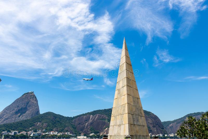 Beautiful panoramic view of the Sugar Loaf mountain in Rio de Janeiro, Brazil, on a beautiful and relaxing sunny day with blue sky royalty free stock images