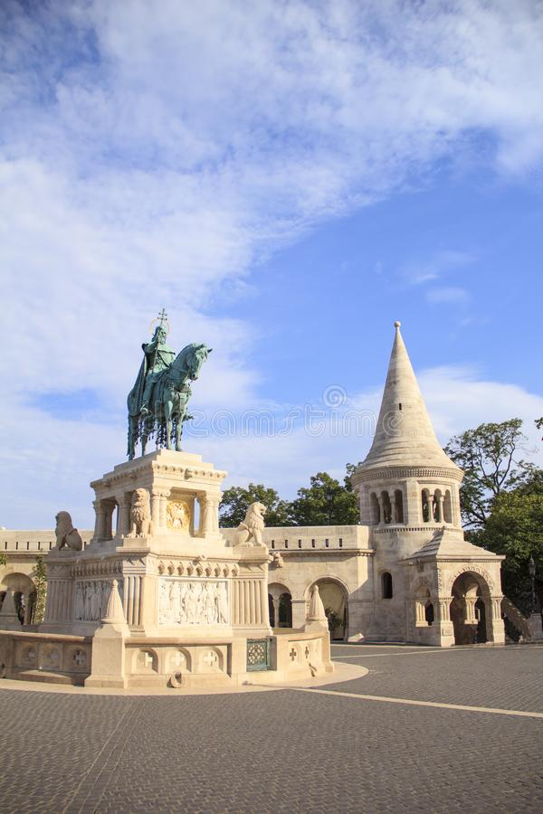 Beautiful view of the Monument to St. Istvan on the Buda Hill near the Fishermen`s Bastion in Budapest, Hungary. On a sunny day royalty free stock photos