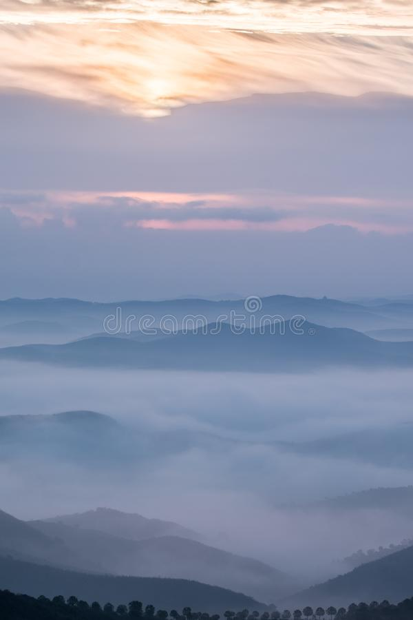Misty hills in the morning. Beautiful view of the morning fog filling the valleys of smooth hills royalty free stock image