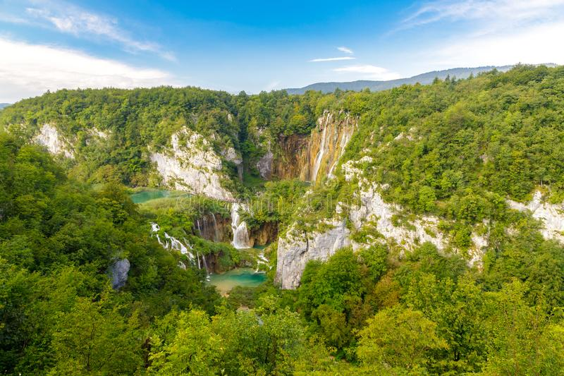Beautiful view of the most famous waterfalls in the sunshine in Plitvice National Park, Croatia.  stock image