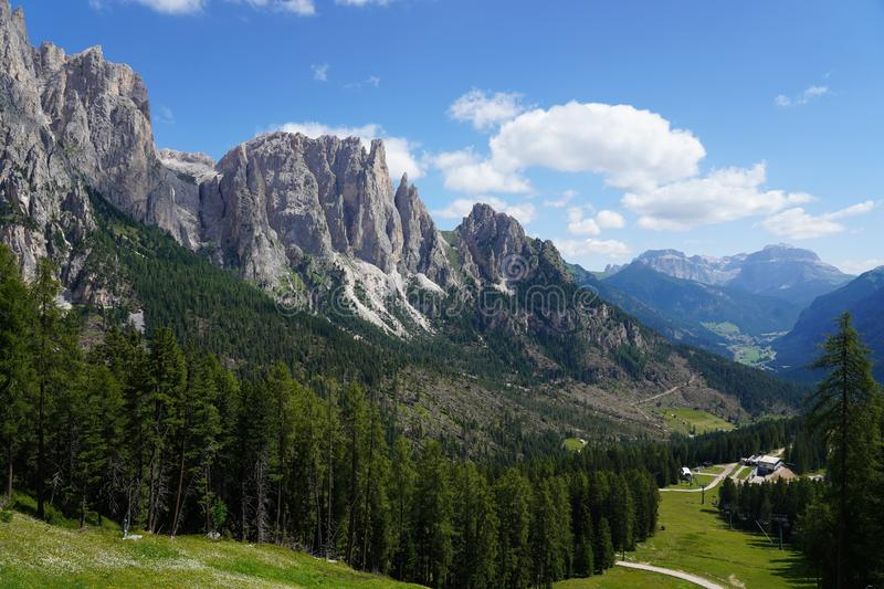 Beautiful view of mount Catinaccio also known as Rosengarten. Catinaccio group on summer, Val di Fassa, Trentino, italian. Dolomites, Italy royalty free stock image