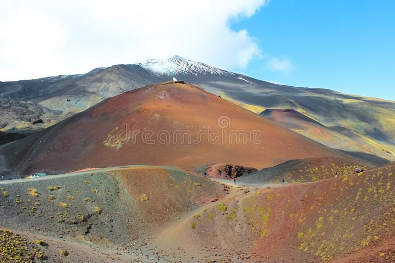 Beautiful view of Mount Etna and adjacent Silvestri craters, Sicily, Italy. Etna volcano and its volcanic landscape is a popular. Tourist attraction royalty free stock photography