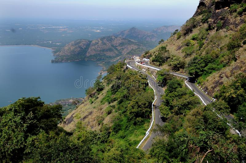 Beautiful view of mount hairpin bend road view stock photos