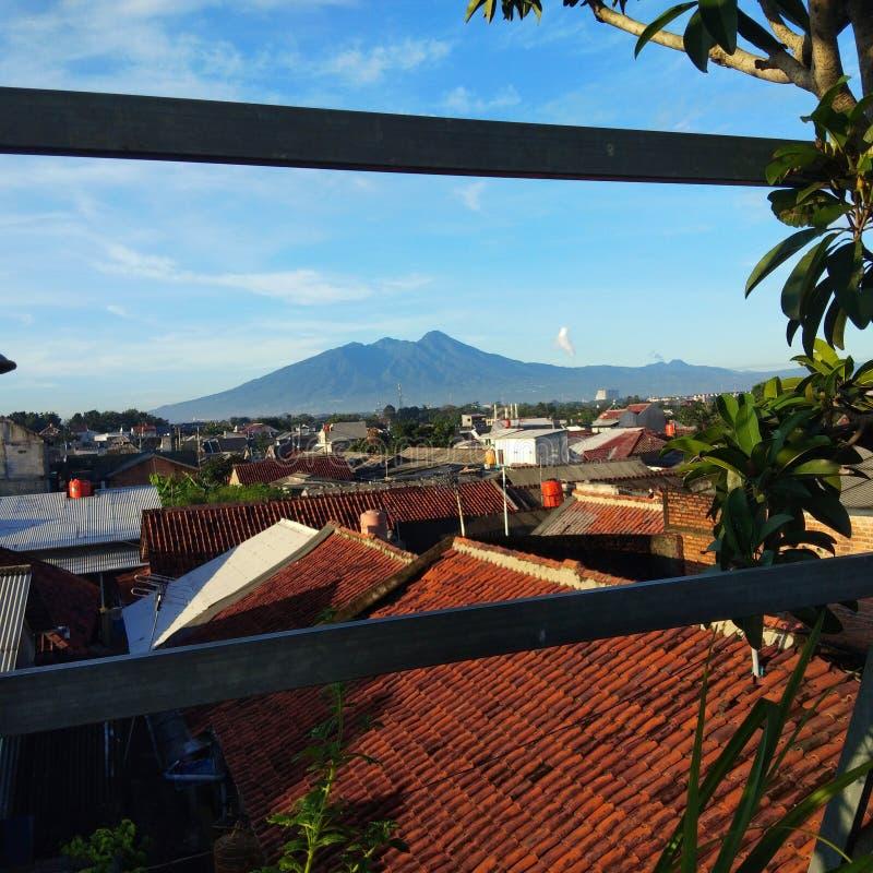 Beautiful view of mount salak bogor indonesia stock photography