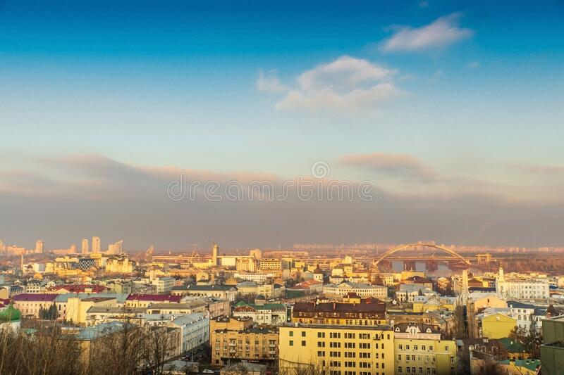View from mountain of Dnieper river and the old city Kiev at sunset stock photography