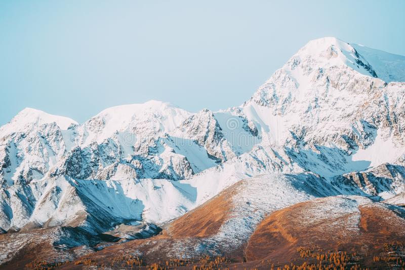 Beautiful view of the mountain range with snow-capped peaks. royalty free stock photo