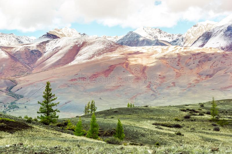 Beautiful view of the mountain range with snow-capped peaks stock photos