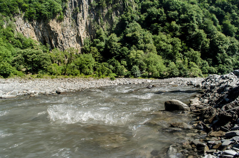 Beautiful view of mountain river in summer, Azerbaijan. Gakh royalty free stock photo
