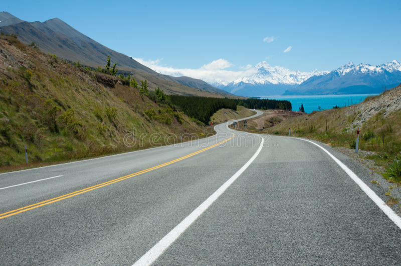 Beautiful view mountain and sky , South Island, New Zealand. Beautiful view and landscape of mountains and sky in South Island, New Zealand stock photos