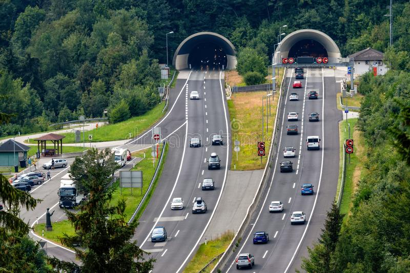 Beautiful view of mountains and entrance to autobahn tunnel near village of Werfen, Austria. royalty free stock photo